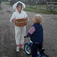 The 'Haw Wood Easter Bunny' delivering treats to all the children on site.