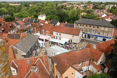 Halesworth Market Square from the Church Tower